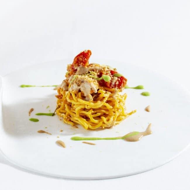 Primo piatto di Chitarrina al ragu San Pietro dell'Osteria Il Moro Trapani